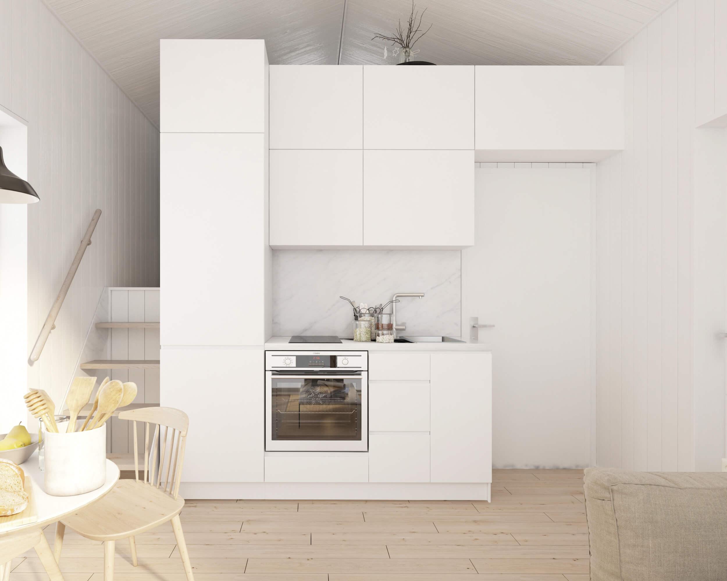 Attefallshus klassiskt Panorama 25.3 ljust kök med vita köksluckor