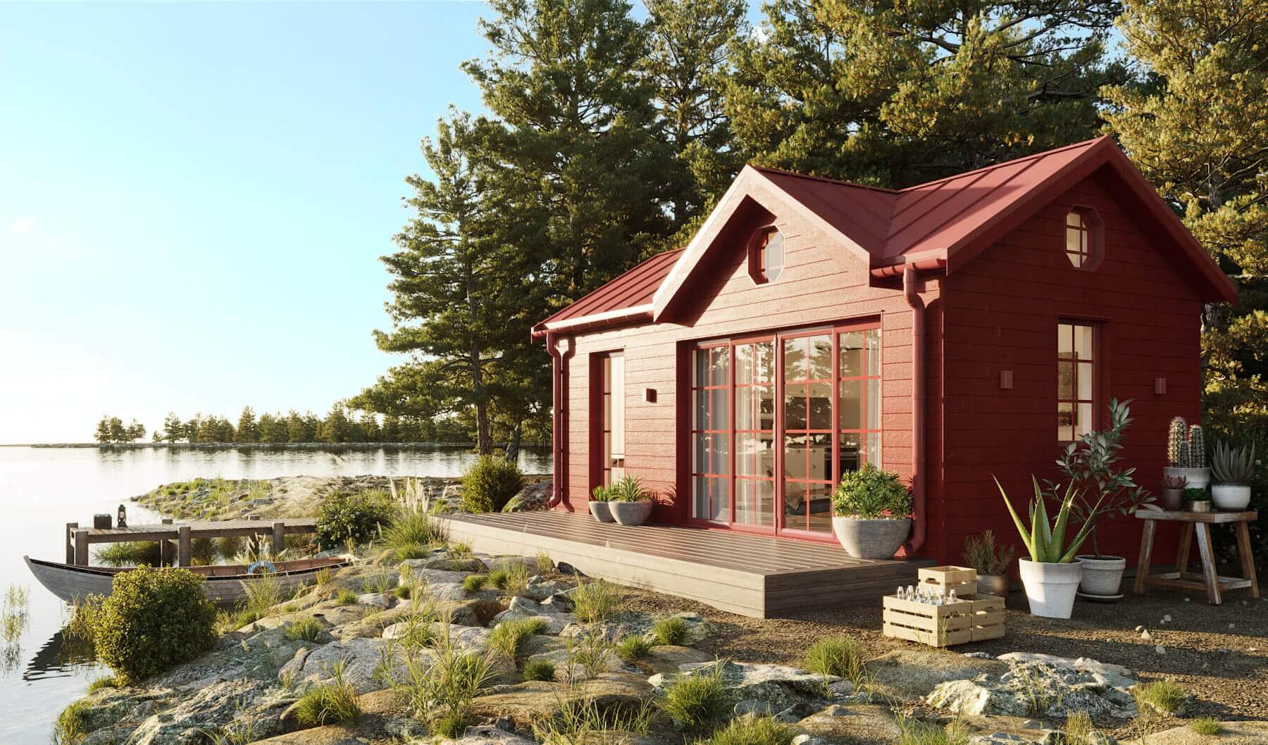 Attefallshus med fasad i Faluröd färg och klassiskt sadeltak och takkupa