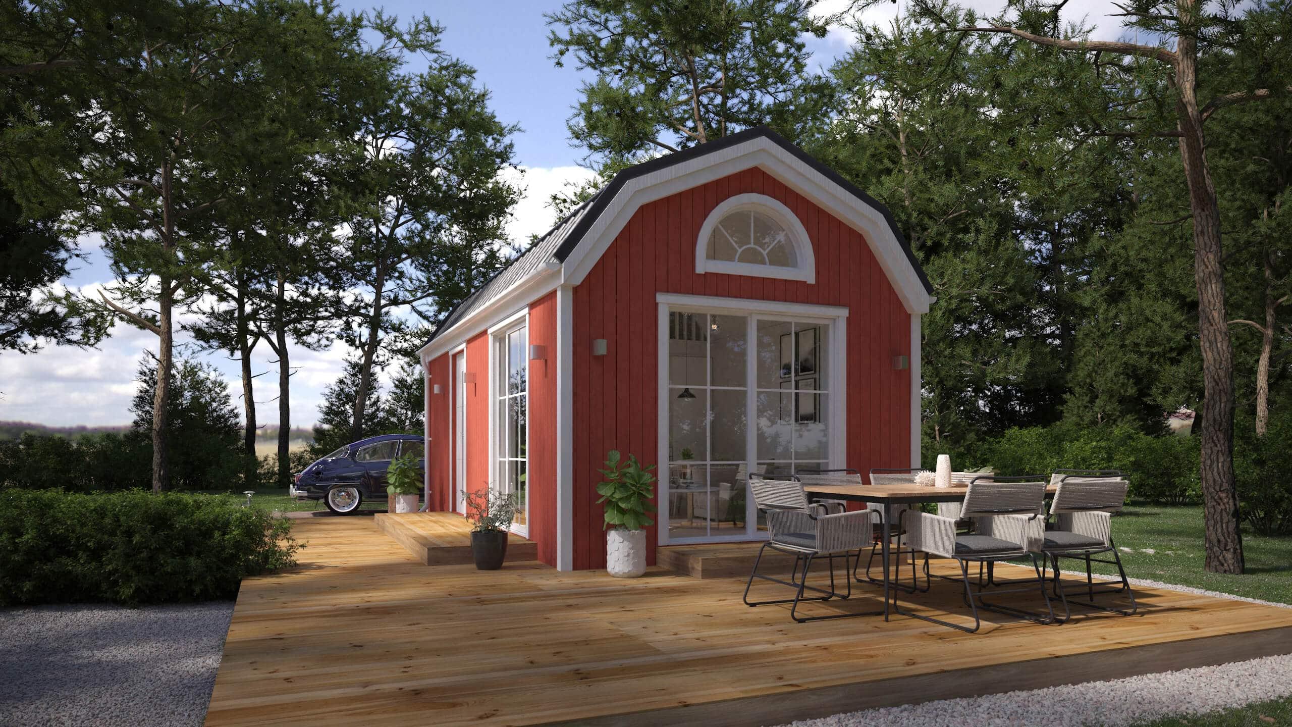 Falurött Attefallshus med mansardtak och panoramafönster