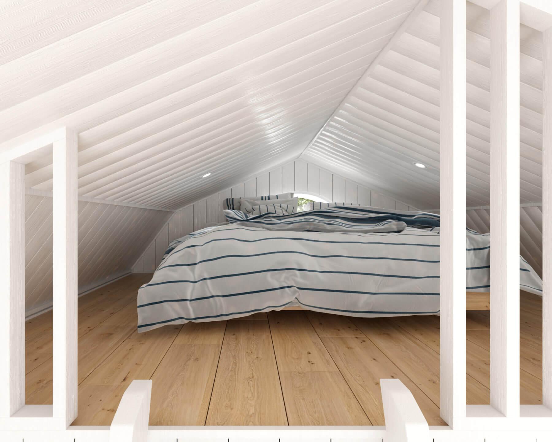 Attefallshus Mansard Panorama 25.2 loft med dubbelsäng