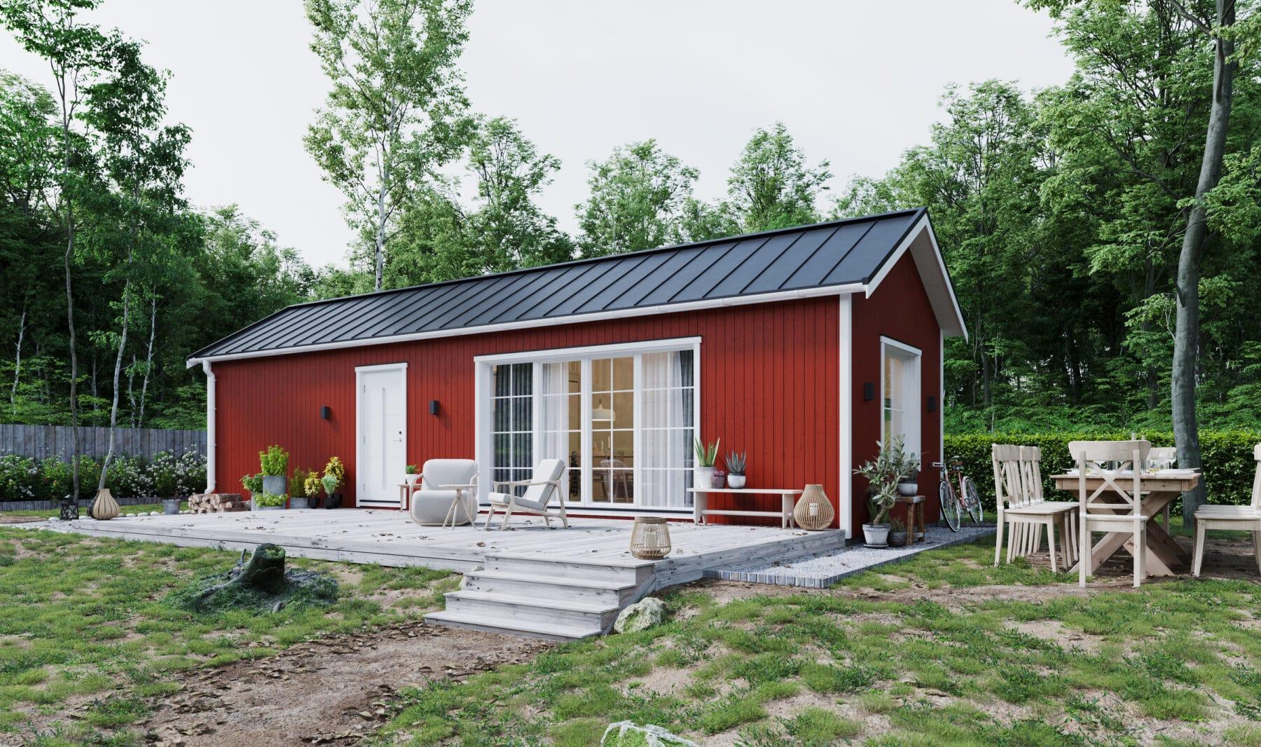 Fritidshus med fasad i faluröd färg, vita knutar och klassiskt sadeltak i svart