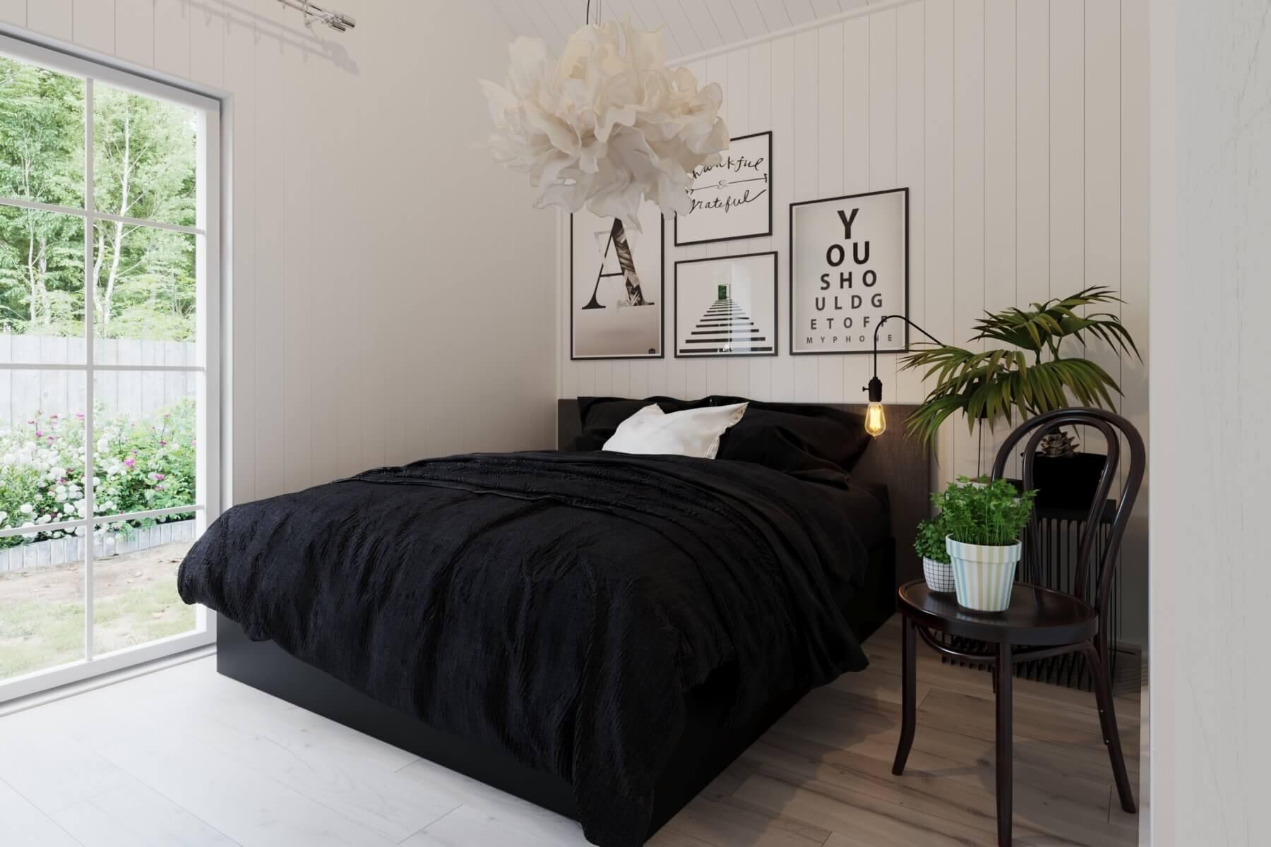 Sovrum i fritidshus med dubbelsäng
