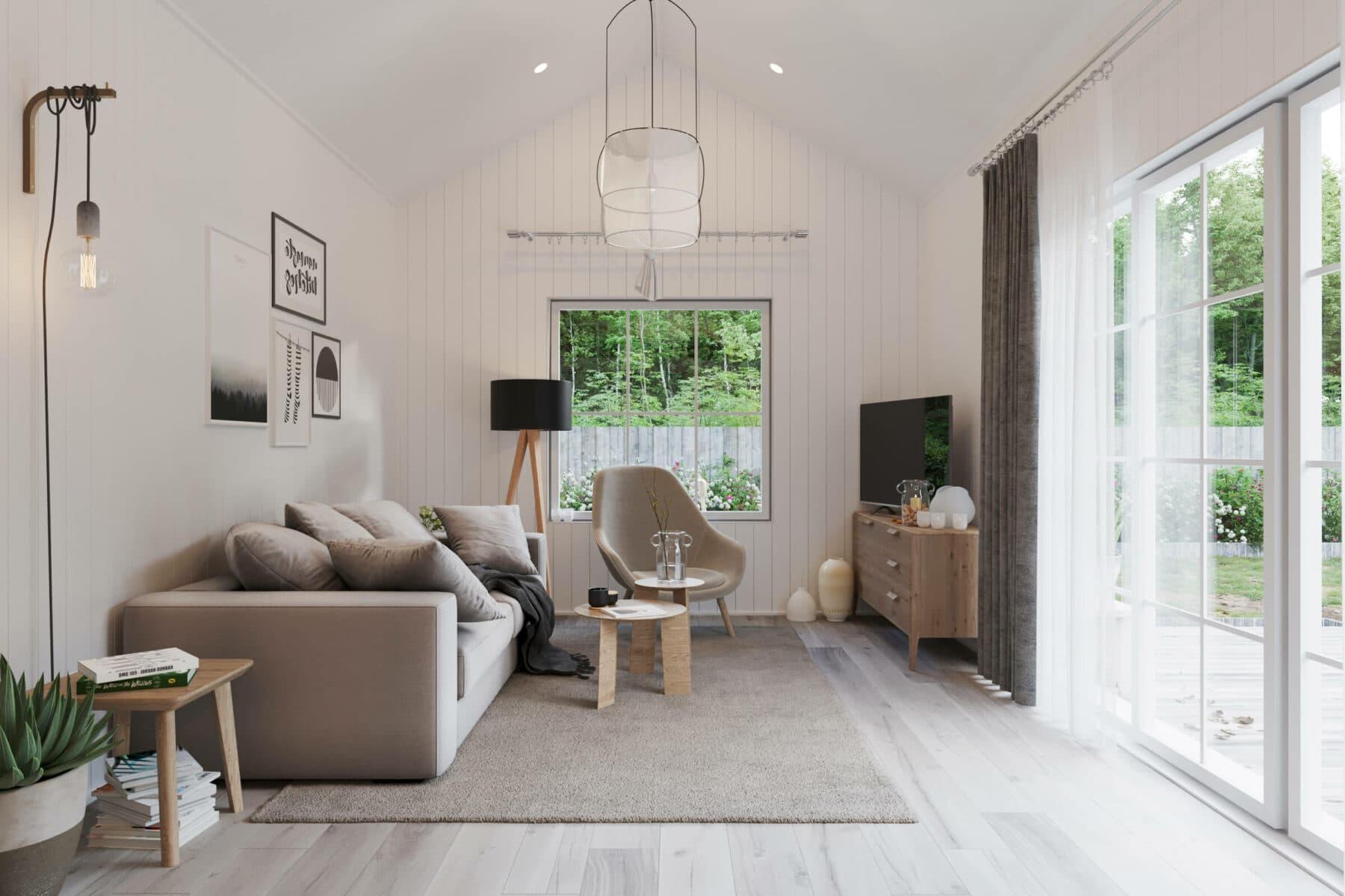 Vardagsrum med soffa, soffbord, fåtölj och tv i fritidshus med klassiskt sadeltak