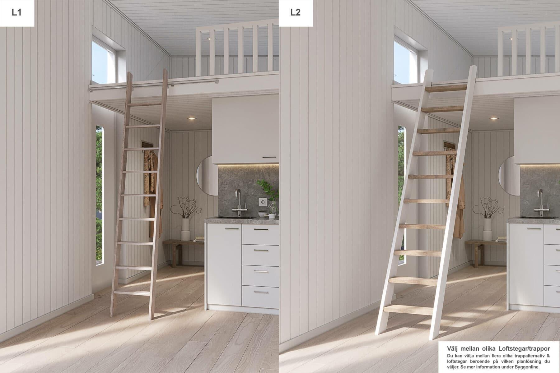 Loftstegar från 1-serien i nyckelfärdiga attefallshus från Husverket