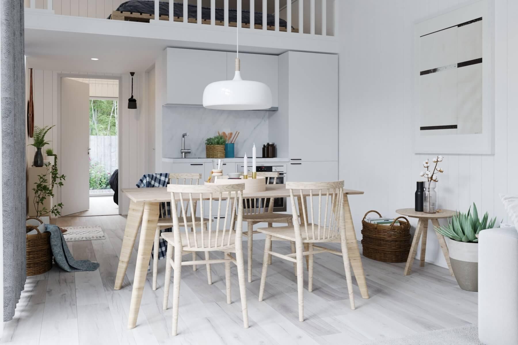 Matplats med rektangulärt bord och 4 stolar