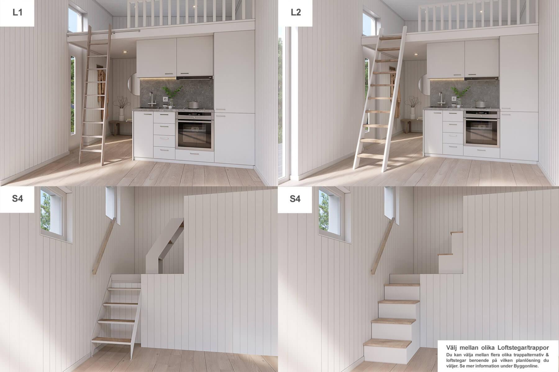 Trapplösningar från 3-serien i nyckelfärdiga attefallshus från husverket