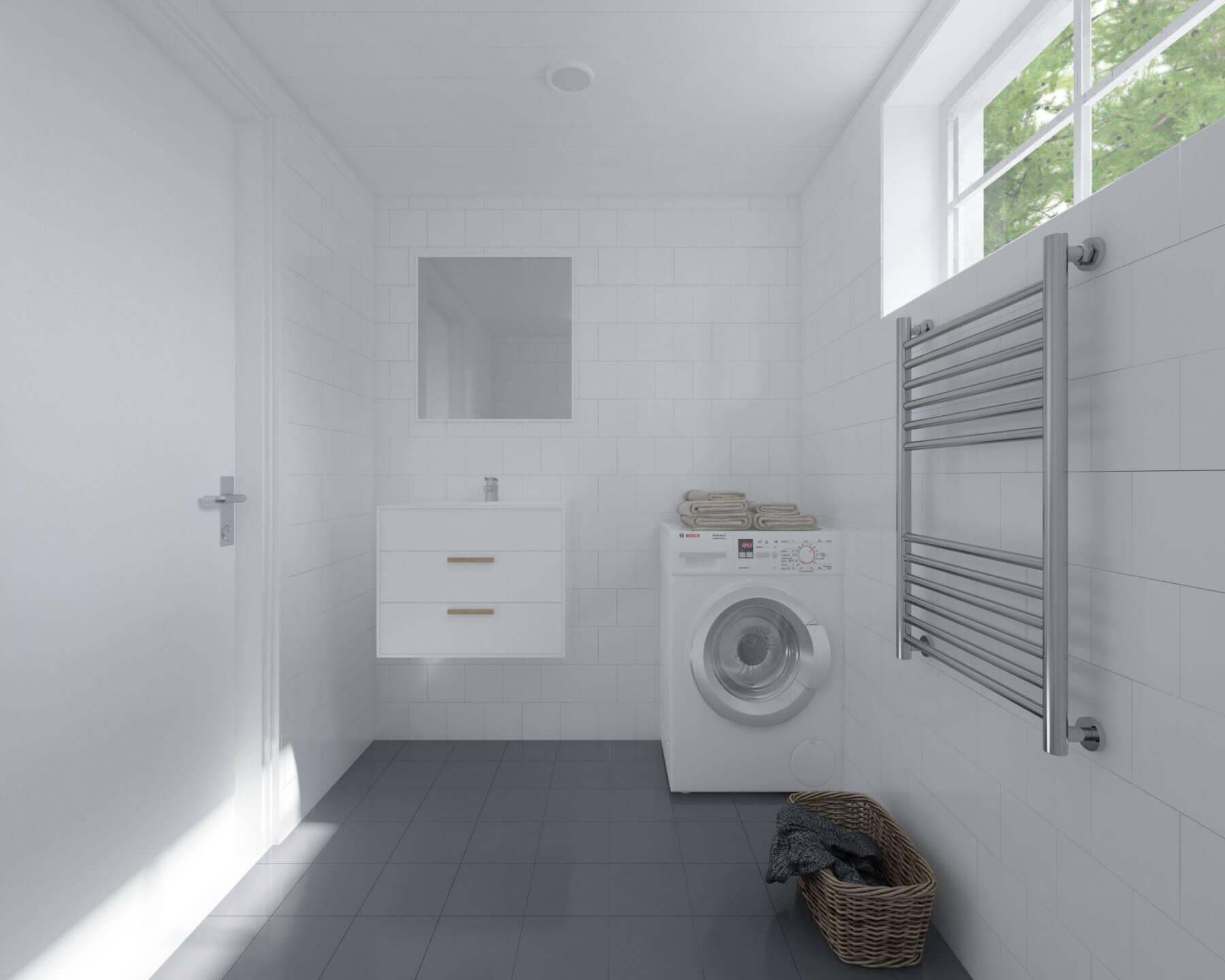 Attefallshus Klassisk 25.1 badrum med tvättmanskin, handfat och handdukstork