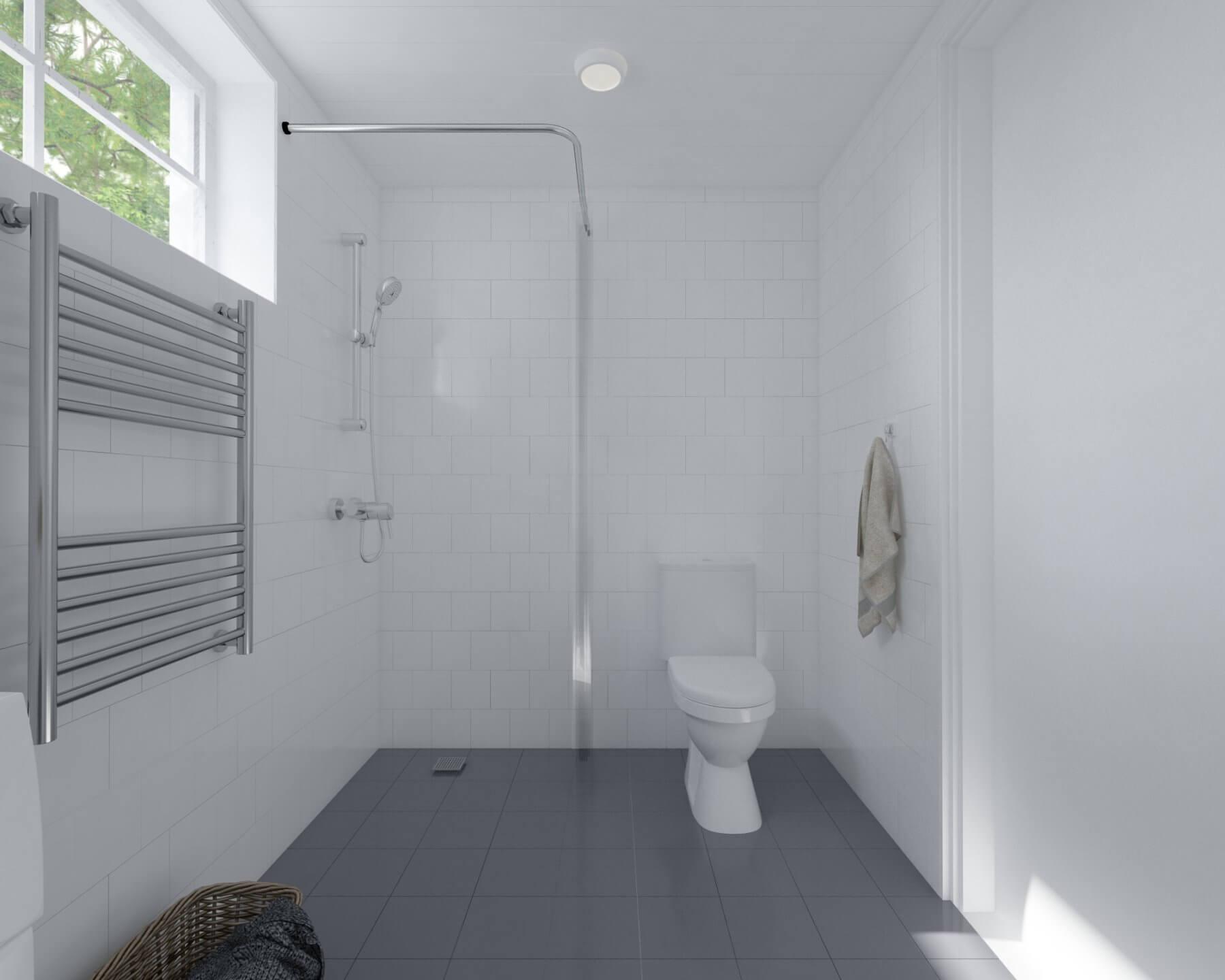 Attefallshus Klassisk 25.1 badrum med toalett, handdukstork och tvättmaskin