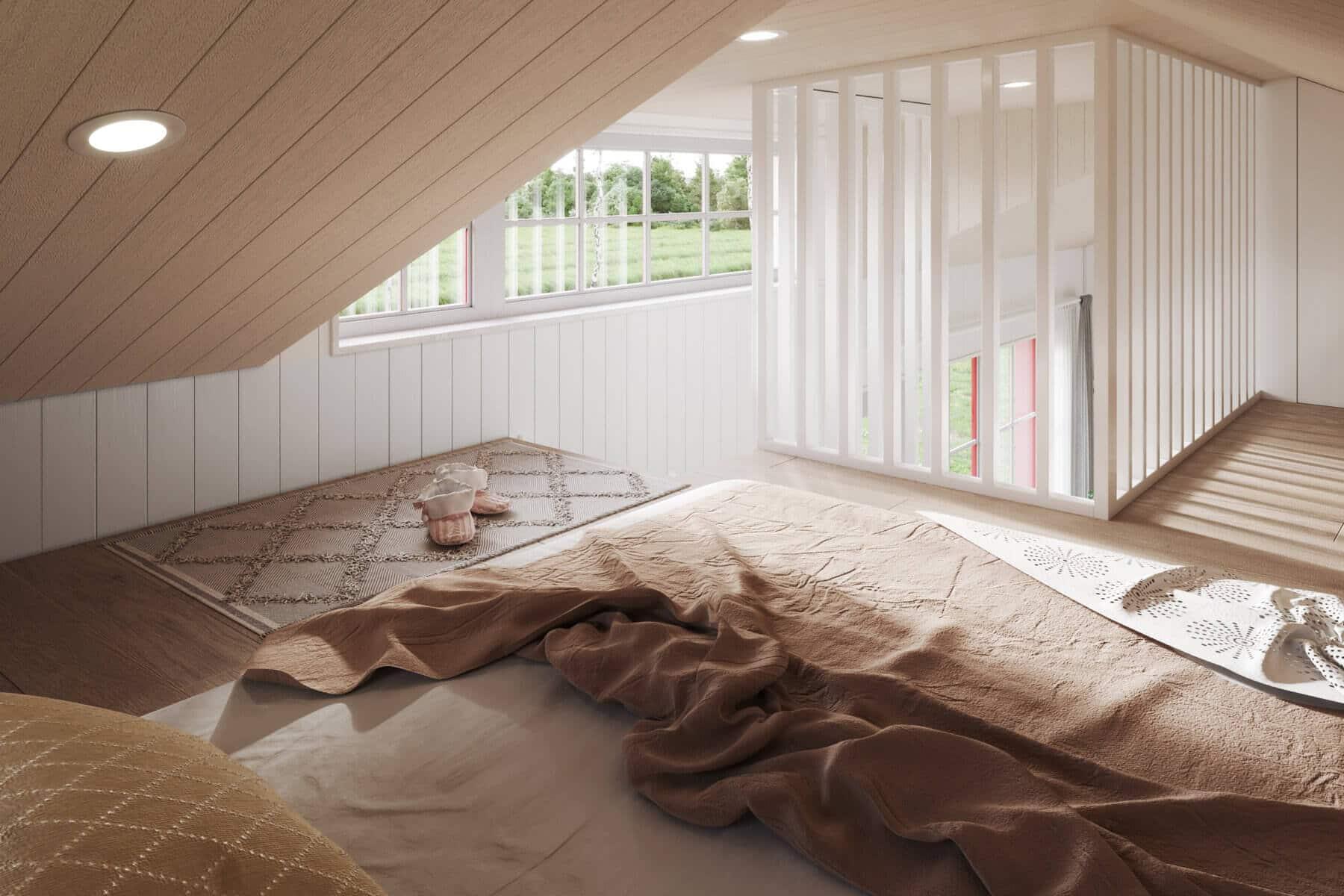 Attefallshus Klassisk rak 30.3 Interiör loft fönster