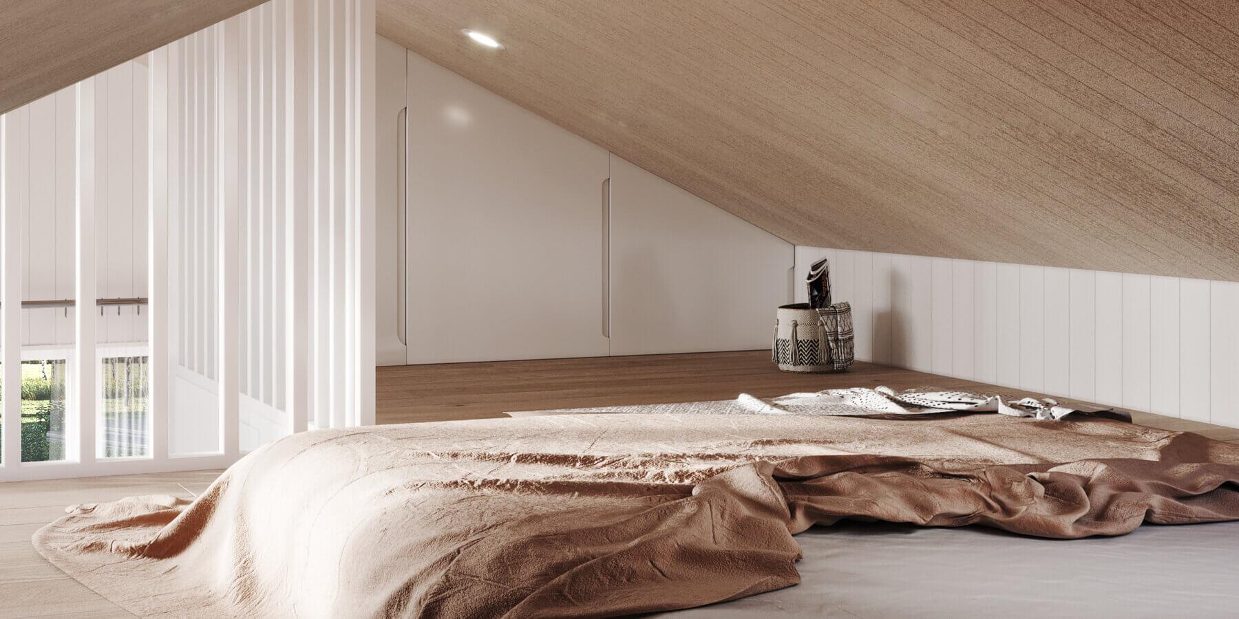 Attefallshus Klassisk rak 30.3 Interiör loft garderob