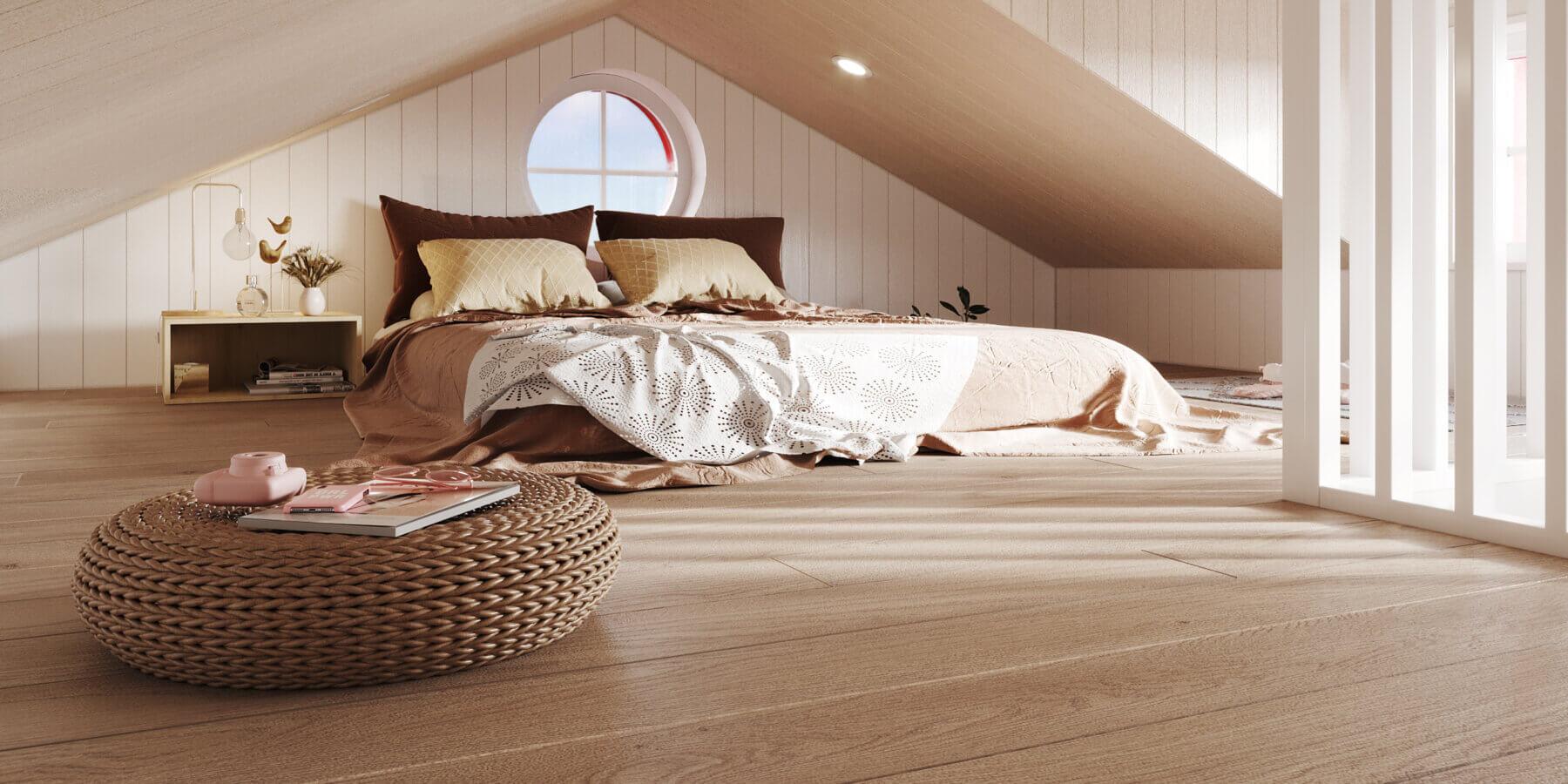 Attefallshus Klassisk rak 30.3 Interiör loft vardagsrum