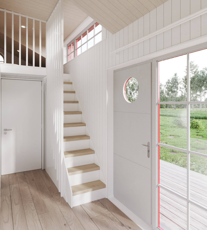 Attefallshus Klassisk rak 30.3 Interiör trappa