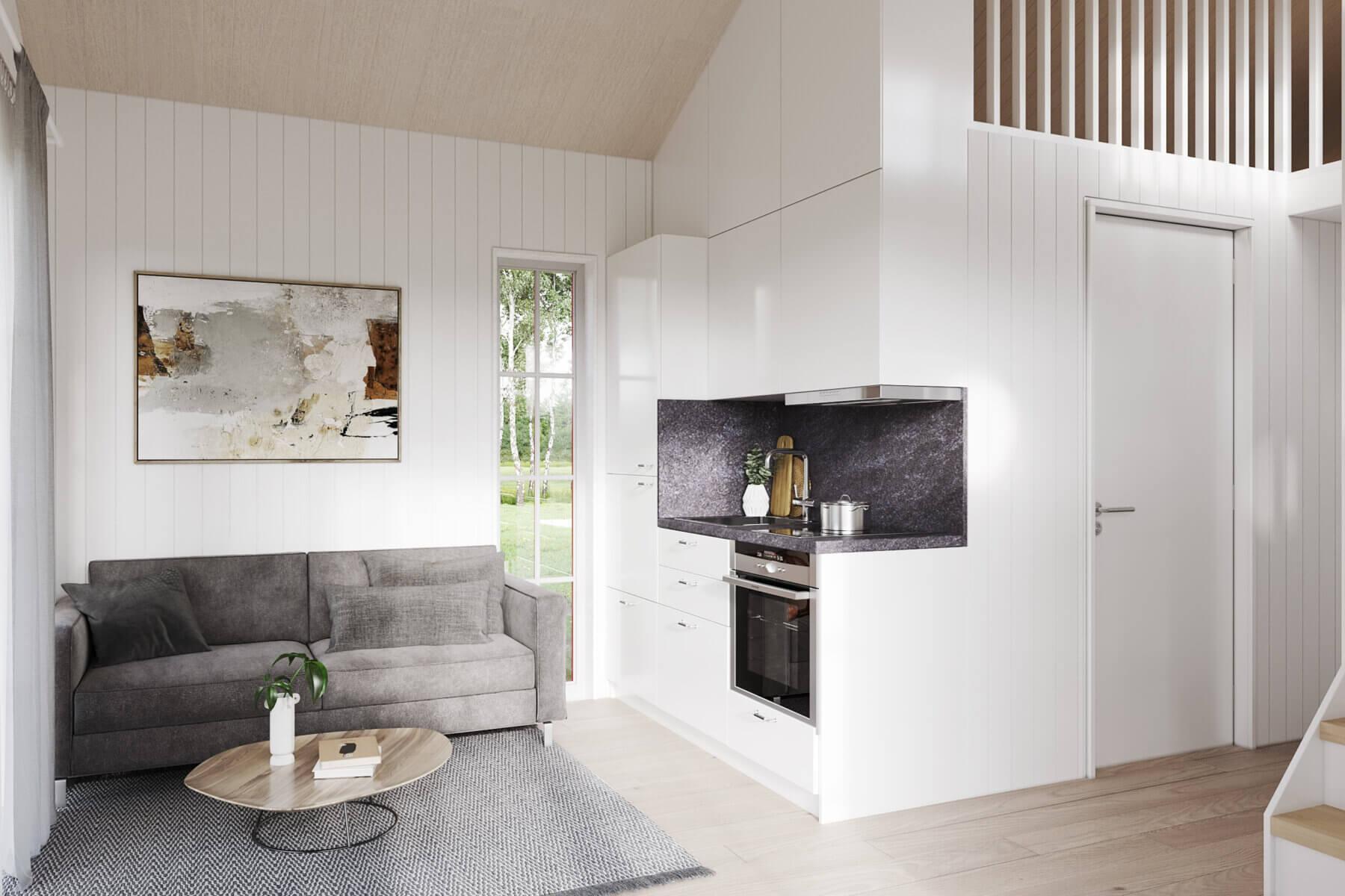 Attefallshus Klassisk rak 30.3 Interiör vardagsrum kök