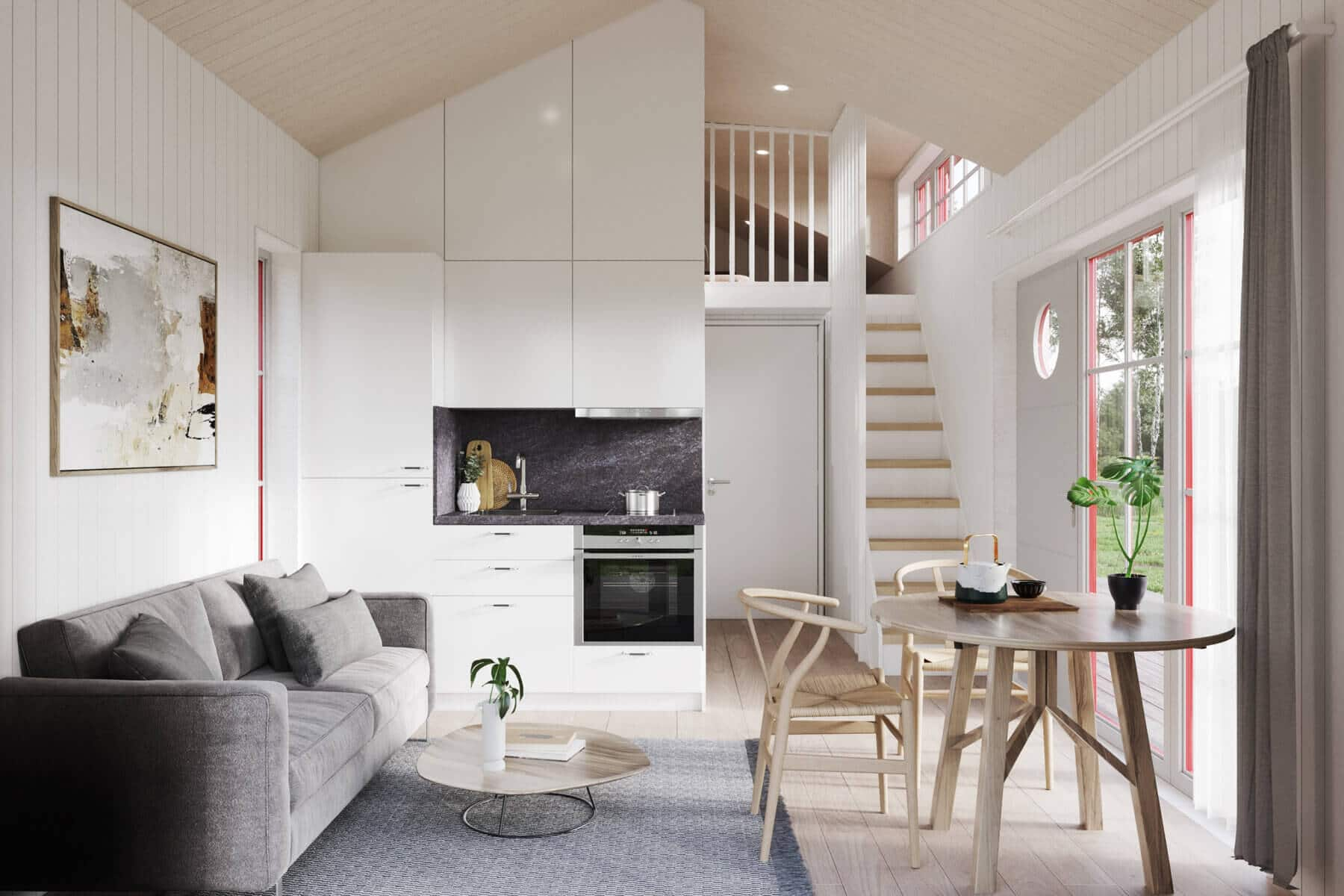 Attefallshus Klassisk rak 30.3 Interiör vardagsrum kök trappa
