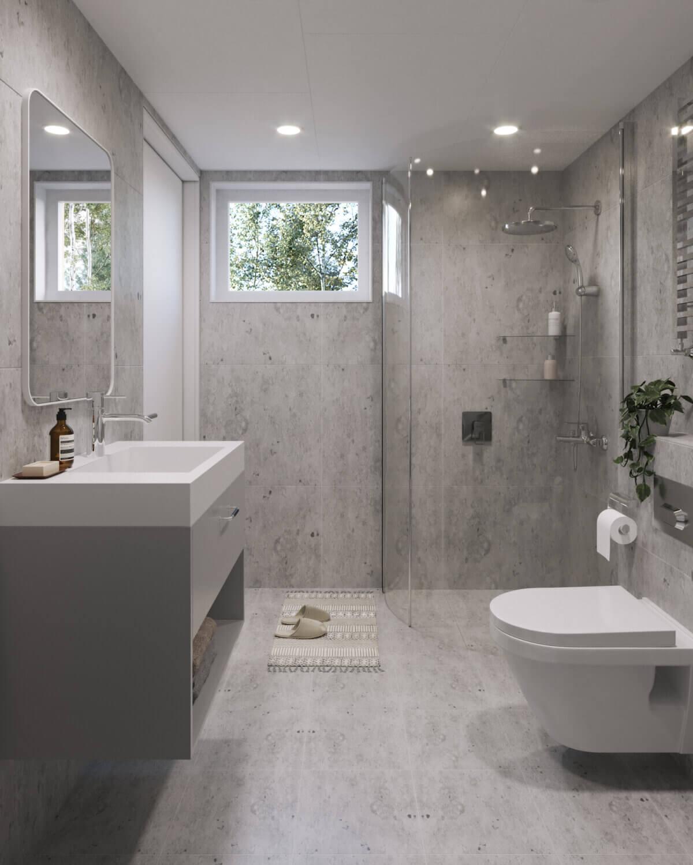 Attefallshus Pulpet 30.3 Interiör badrum dusch