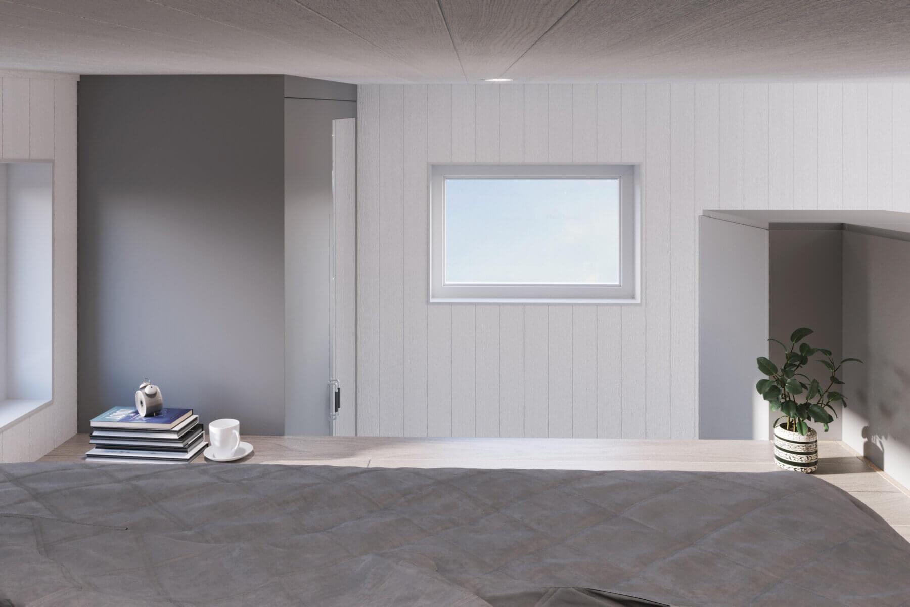 Attefallshus Pulpet 30.3 Interiör loft fönster